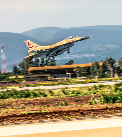 F-16C Air Force Aircraft Aviation Aviationphotography F-16 Fighter Jet Flight Israeli Air Force Military Mountains Outdoors Sky Take Off View