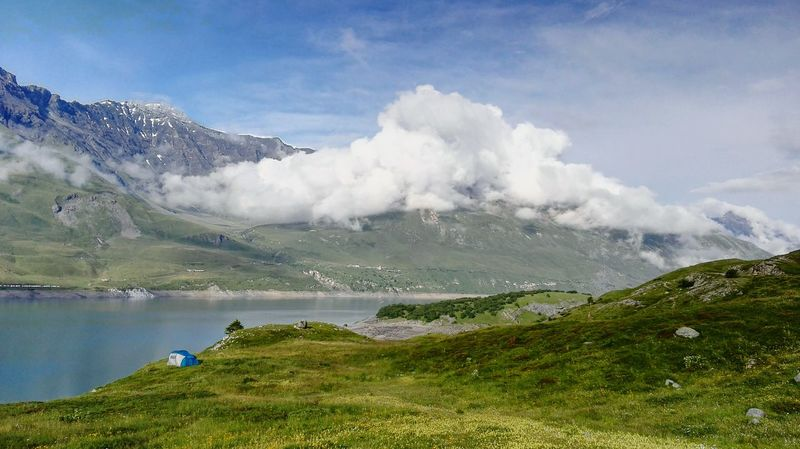 Mountain Beauty In Nature Landscape Scenics Moncenisio Montcenis Tent Camping Green Lake