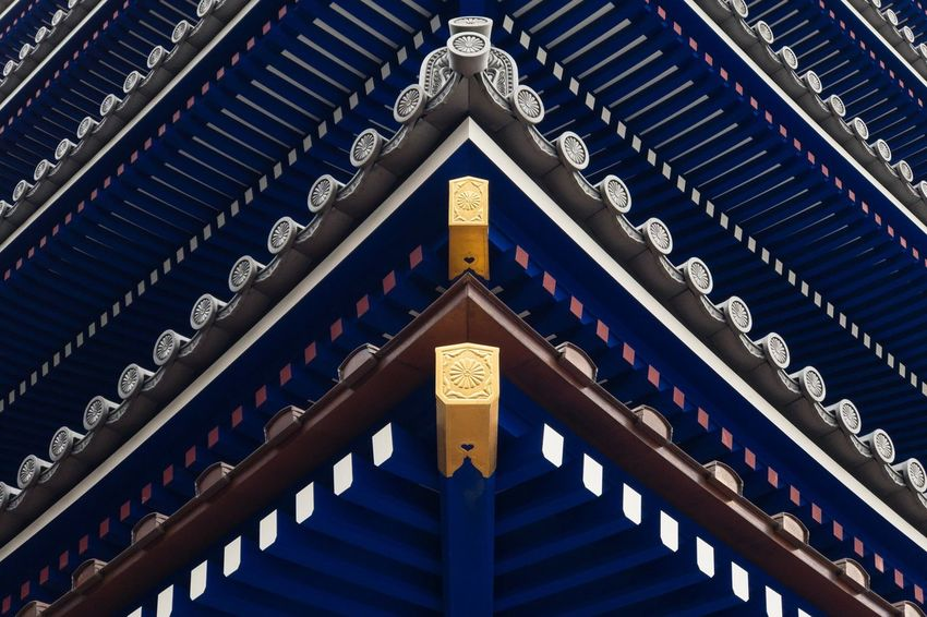 A rare indigo Japanese pagoda - most are red - at Nakayama-dera. Buddhism Asian Culture Purple Indigo Pattern Repetition IPhoneography Japanese  Japan Temple Full Frame Cultures Spirituality Low Angle View Place Of Worship Religion No People Architecture Close-up The Architect - 2018 EyeEm Awards