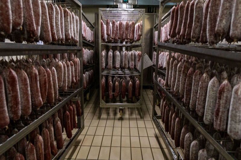 Meat on rack in store