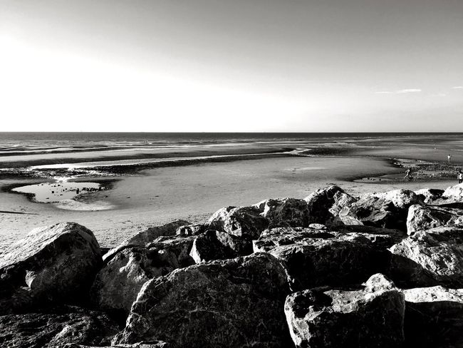 Wissant 2, Côte d'Opale Lenkacam ShotOnIphone IPhone Black And White Photography Black & White Black And White Côte D'Opale Opale Coast France Wissant Sea Beach Water Nature Horizon Over Water Rock - Object Shore Tranquil Scene Beauty In Nature Tranquility Sand Scenics Outdoors Sky Clear Sky