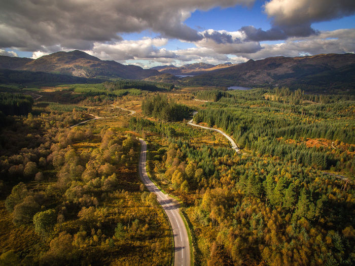 Drone over the Trossachs Drone Dji Mountain Cloud - Sky Dramatic Sky Landscape Outdoors Scotland Road Highway Nature Autumn Beauty In Nature Tranquility Lake Water