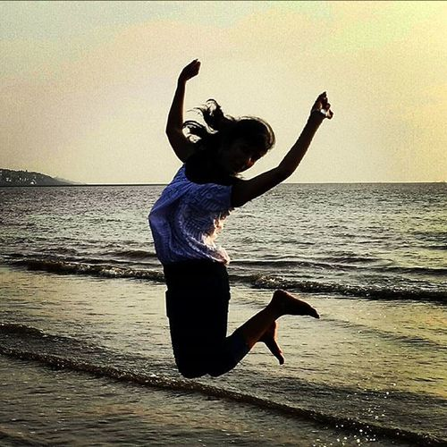 Sunset Beach Jump Perfecttiming Happiness Latepost Throwbackthursday  Instamood Instagood Doubletap Okaybye