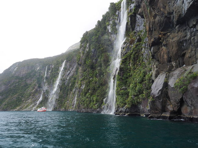 Milford Sound New Zealand Scenery Beauty In Nature Milford Sound Cruise Mountain Nature Nautical Vessel Scenics Waterfalls