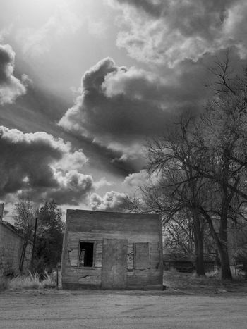 Wallace, Kansas Abandoned Building Black And White Black And White Collection  Cloud - Sky Dramatic Sky No People Outdoors Overcast Sky Small Town Unsettled Wallace Kansas Weather