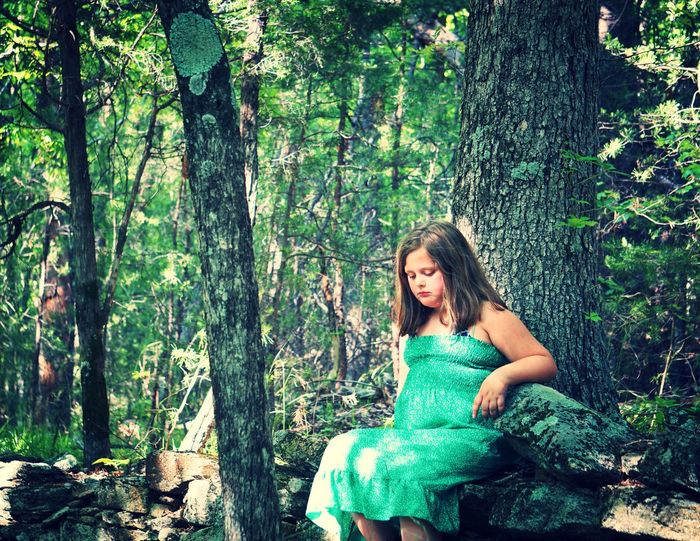 Stone Mountain State Park Child One Person Tree Trunk Outdoors Nature Day Beauty Portrait Beauty In Nature