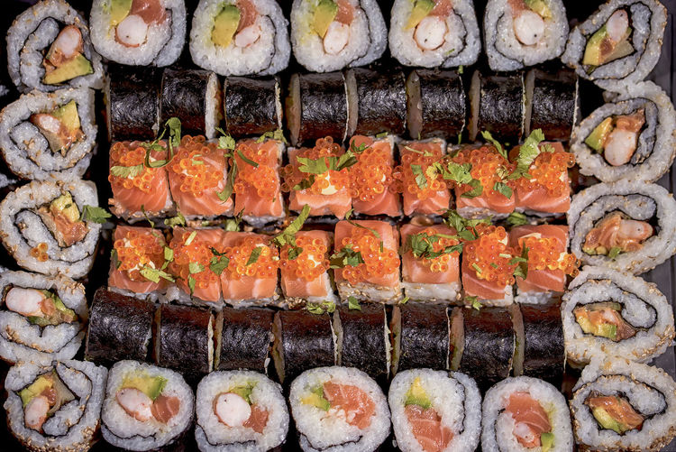 Abundance Choice Cooking Fish For Sale Freshness Full Frame Healthy Eating In A Row Large Group Of Objects Market Market Stall Order Repetition Retail  Rice Salmon Stack Sushi Vegetables Show Us Your Takeaway! Nourriture No People Detail