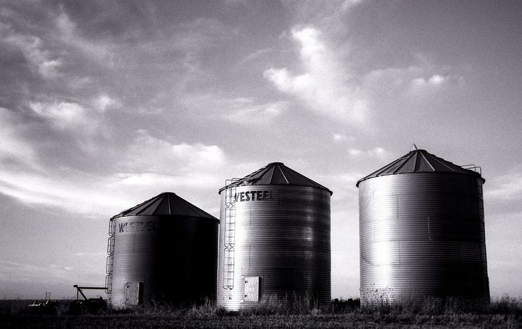 Silo Factory Architecture Sky Cloud - Sky No People Outdoors Day Metal Industry Saskatchewan Film Photography Black And White