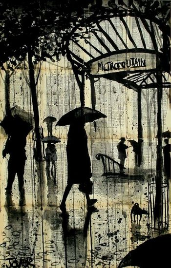 A stroll in the rain. Art Paintings Lovely :)