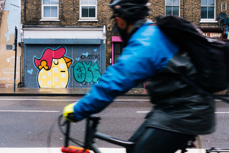 Yep, Easter's coming Fujifilm_xseries Streetphotography London City Architecture One Person Street Real People Transportation Building Exterior Men Built Structure City Life Road Mode Of Transportation Walking Motion Graffiti Day Bicycle Lifestyles Blurred Motion Outdoors Riding
