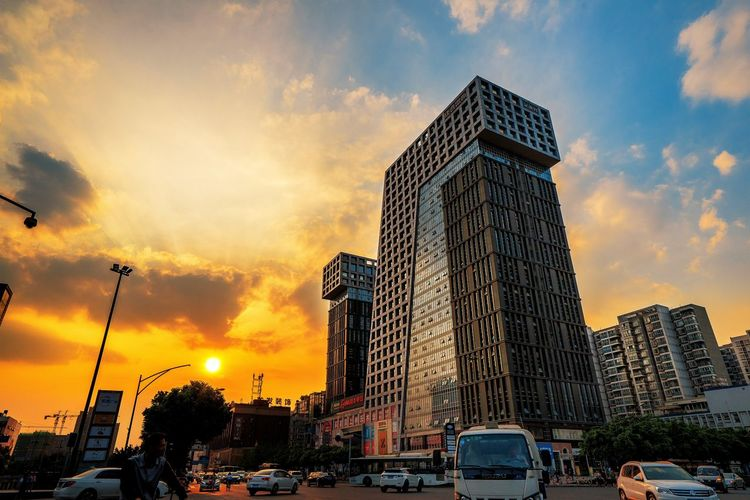 Building Exterior Car City Day Low Angle View Sky Street Sunset