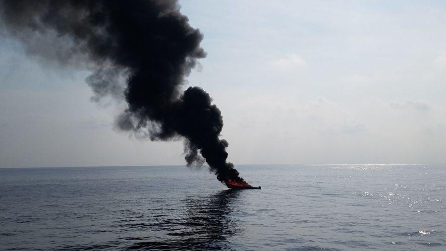 Boat Fire Ocean Boat On Fire Boat Water Sea
