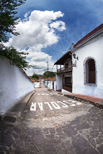 A street in Giron, Colombia. Colombia Exterior Latin America Santander Sunny Travel Architecture Bucaramanga Cobblestone Colombian  Colonial Day Destination Girón Historic No People Outdoors Sky South America Street Tourism Tree