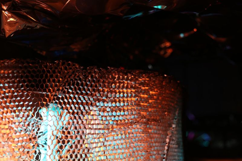 Pattern, Texture, Shape And Form 33c3 Light light and reflection Silver  Orange Red Blue Honeycomb Structure Abstract Photography Art And Craft