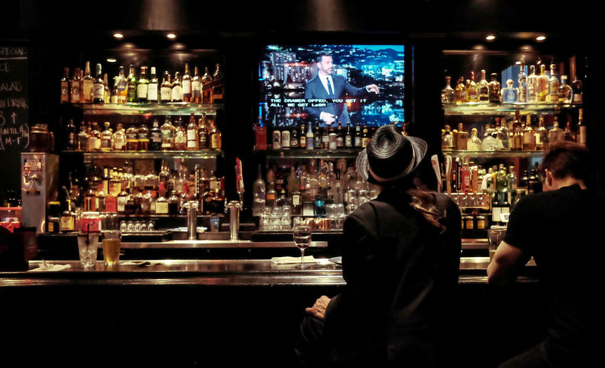 Rear view of people sitting at bar counter