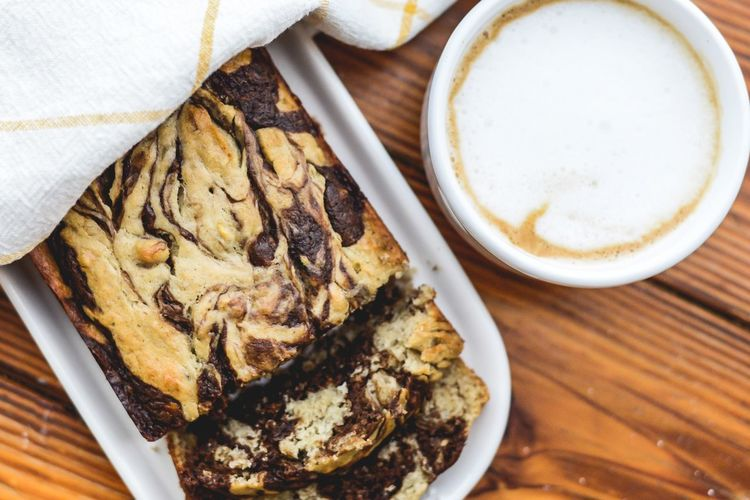 Chocolate Swirl Banana Bread Chocolate Swirl Banana Bread Baking Banana Bread Food And Drink Food Freshness Still Life Table Drink Coffee - Drink Ready-to-eat Coffee Close-up Indoors  Indulgence Directly Above High Angle View