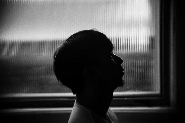 Silhouette Human Hand Men Headshot Close-up Drapes  Curtain Fabric Window Sill Translucent Shaped Scene Energy Sunshine Jellyfish Peaceful Healthy See Through Window Looking Through Window Floor Lamp Room Houseplant