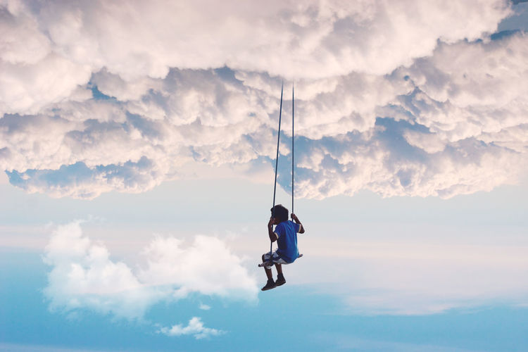 Alone Alone Time Adventure Beauty In Nature Childhood Cloud - Sky Leisure Activity Lifestyles Men Mid-air Nature One Person Outdoors People Photoshop Real People Sky