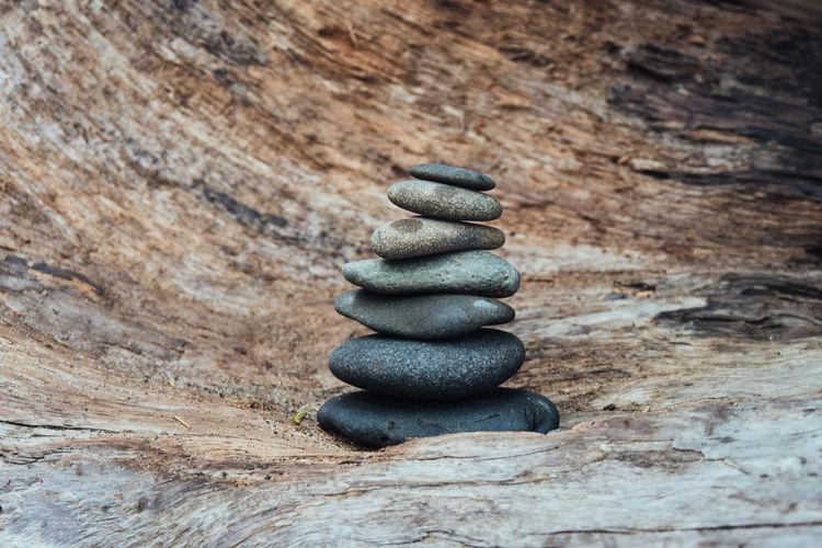 Cairn on a log