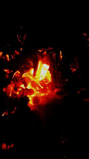Close up of fire in dark room
