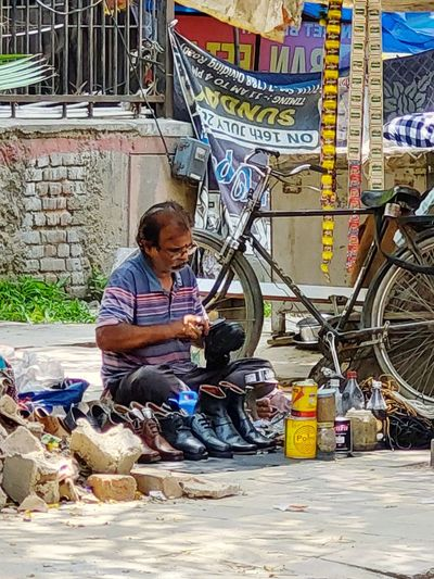 Man working at market