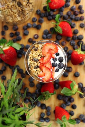 High angle view of breakfast in bowl on table