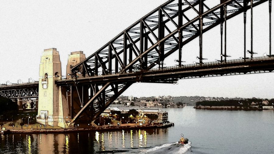 Bridge - Man Made Structure Architecture Water Built Structure City River Outdoors Travel Destinations Day No People Sky Sydney Harbour Bridge Sydney, Australia Sydney Harbour  Harbor early morning