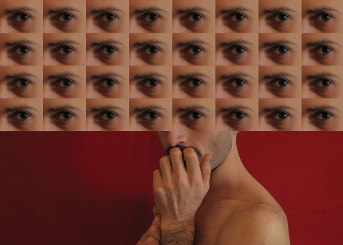 Image Montage Of Shirtless Man And Eyes