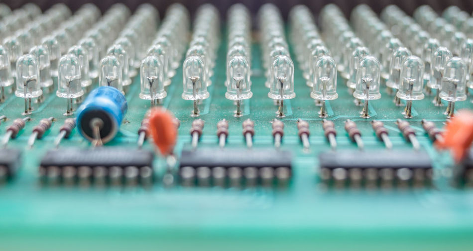 Close-up of led on mother board