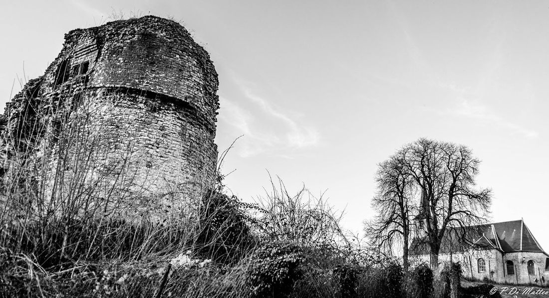 No People Castle Ruin Blackandwhite