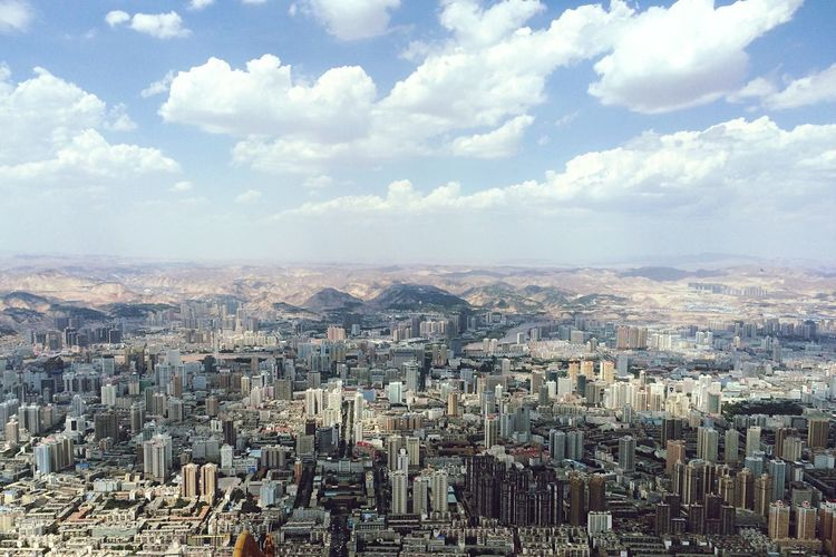 Lanzhou City Aerial View Lanzhou City View Lanzhou Cityscape High Angle View Wide Shot Panorama View