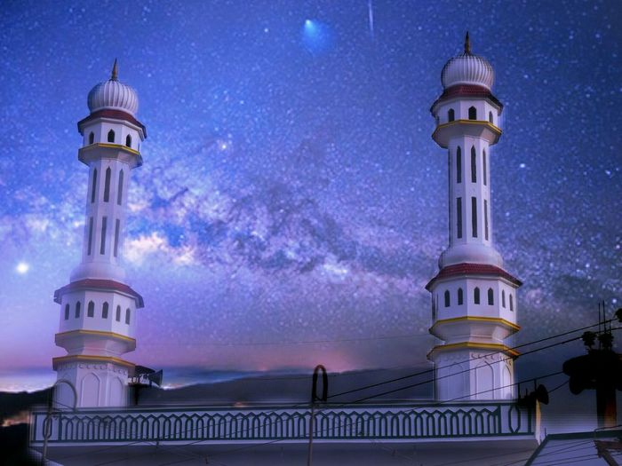 Minarets against the dramatic sky background. EyeEm Selects Night Architecture Travel Destinations Dome Sky Star - Space History Arts Culture And Entertainment Low Angle View Outdoors Illuminated Beauty Building Exterior No People Photoblend Silhouette And Sky Minaret Architecture Blended Images Blended Photo Indiapictures Indianarchitecture India Architecture