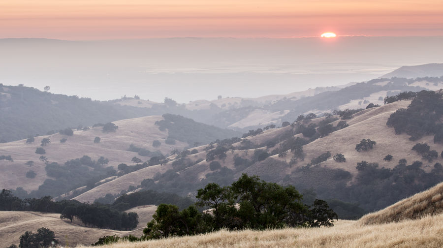 Silicon valley air polluted sunset via mt hamilton
