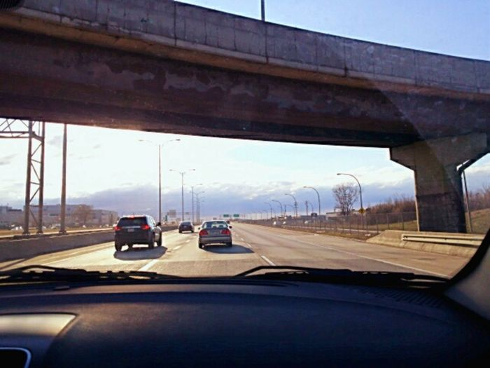 Highway Stretch Cars A View From The Car Blue Sky Highways&Freeways Overpass Beautiful Sunny Coming Home ny cctv car camera takes this alone Bluetooth Camera Dashboard Cam