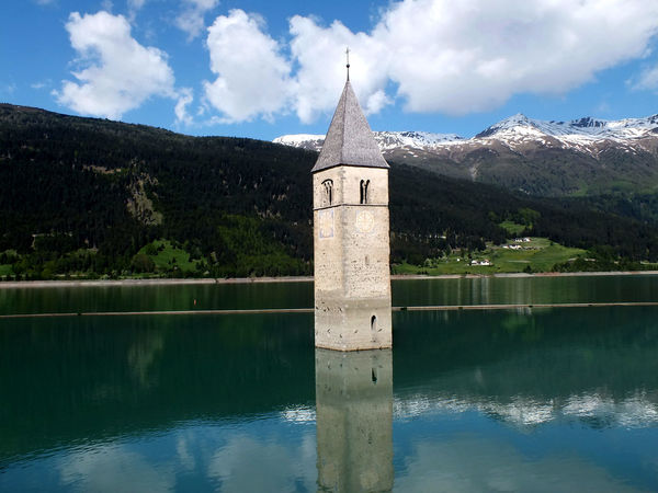 Kapelle im Reschensee Reflection Water Sky Symbol Cloud - Sky Lake Outdoors