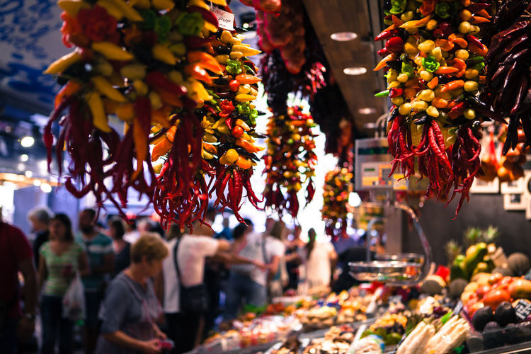 Colorful stalls at Boqueria Maket, Barcelona, Spain. Abundance Barcelona Famous Place Food Foodstall Grocery Grocery Shopping Market Market Stall SPAIN Stall Street Market Travel Travel Destinations