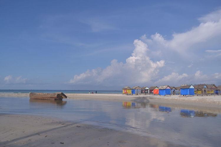 Water Sea Beach Blue Sand Summer Reflection Sky Horizon Over Water Cloud - Sky