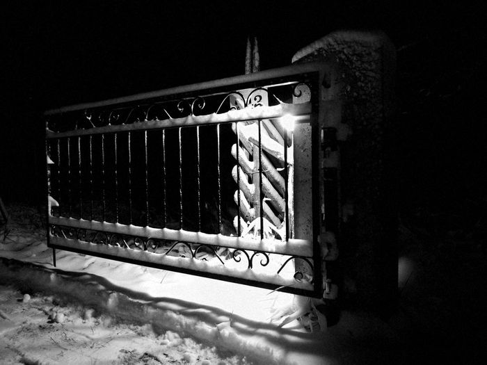 A gate to my home No People Outdoors Gate Snow Winter Night