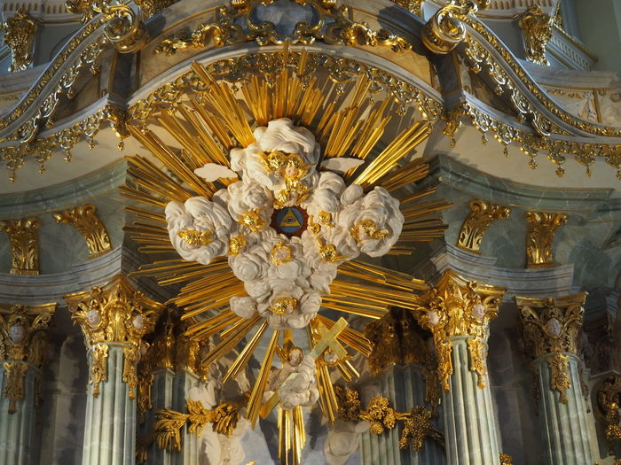 Architecture Built Structure Christmastime Close-up Day Eye Of Providence Frauenkirche Frauenkirche Dresden Gold Colored Indoors  Low Angle View No People Ornate Perfection Place Of Worship Religion Religious Architecture Sculpture Spirituality Statue Travel Destinations