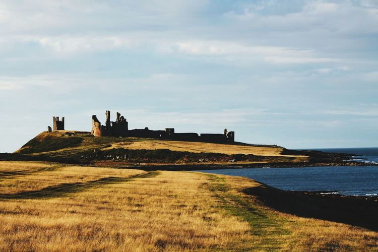 A shaded shot of dunstanburgh castle ruins