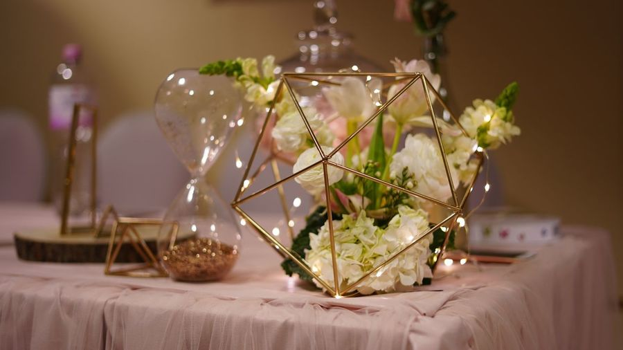 Close-up of decorations on table