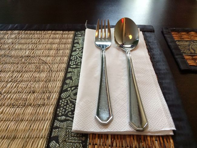 Fork Spoon High Angle View Table Eating Utensil Place Setting Metal No People Food Indoors  Day Fork Thai