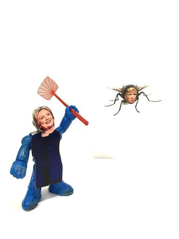 Hillary taking care of a pest White Background Trump2016 Clinton Hillaryclinton Toys Paper Political Political Art IPhoneography Vertical