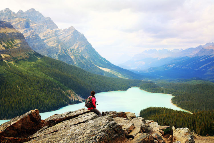 Woman enjoy a beautiful mountain lake. Peyto Lake, Canadian Rockies, Alberta, Canada. Adventure Alberta America Banff National Park  Beauty In Nature Canada Getting Away From It All Hiking Hiking Hikingadventures Idyllic Lake Landscape Lifestyles Mountain Mountain Range Nature One Person Outdoors Peyto Lake Rear View Scenics Sitting Tranquil Scene Woman Go Higher Summer Exploratorium The Traveler - 2018 EyeEm Awards