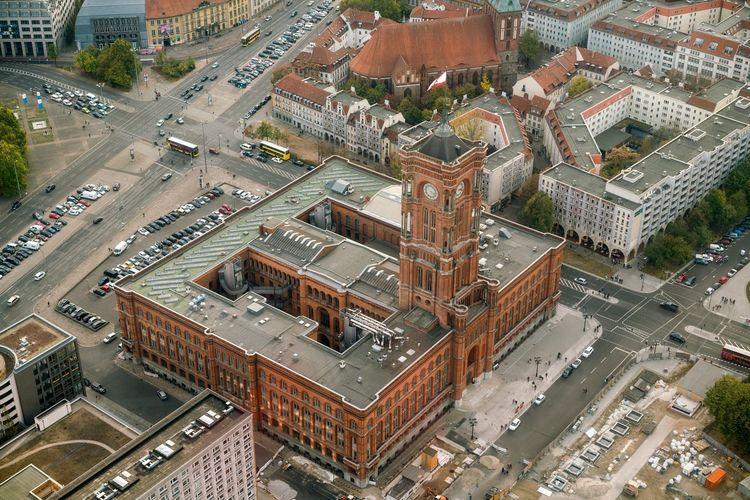 Berlin from above Tv Tower Berlin Rotes Rathaus Alexanderplatz Berlin High Angle View City Architecture Built Structure Building Exterior Road Street Day Transportation Cityscape Aerial View No People Building Outdoors Nature Car City Street Motor Vehicle Land Vehicle