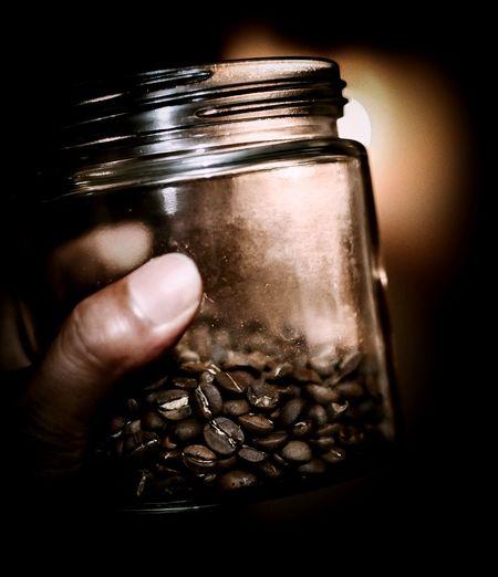 Coffee Bean Coffee Lowlight Brownie Crater Bean Human Hand Water Jar Human Finger Close-up