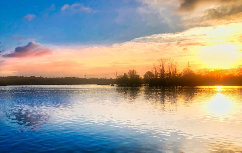 Autumn Sunset Sky Water Sunset Scenics - Nature Cloud - Sky Beauty In Nature Tranquility Tranquil Scene Reflection Waterfront Nature Orange Color Lake No People Idyllic Non-urban Scene Tree Outdoors Plant