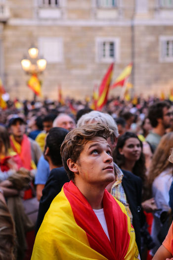 Catalunya Adult Architecture Built Structure Celebration Crowd Day Flag Focus On Foreground Large Group Of People Men Outdoors People Protestor Real People Referendum Togetherness Unity Women Yellow The Photojournalist - 2018 EyeEm Awards