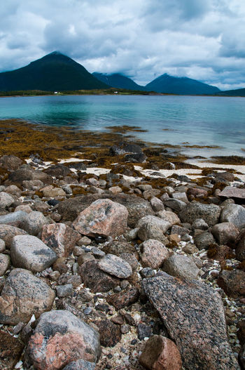 Norway Beach Beauty In Nature Cloud - Sky Day Mountain Nature No People Scenics Sky Stones Water EyeEmNewHere.