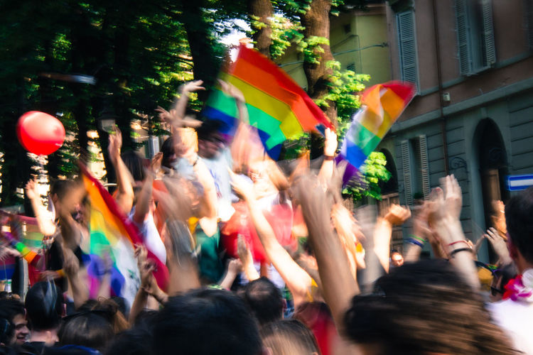 Gay Pride in Reggio Emilia ( 3rd June 2017 ) to protest against Xenophobia, Homophobia and for Gay Marriage and rights Blurred Motion Celebration Day Enjoyment Fun Gay Pride Large Group Of People Love Motion Multi Colored Music Real People The Photojournalist - 2017 EyeEm Awards The Street Photographer - 2017 EyeEm Awards